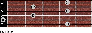 E6/11/G# for guitar on frets 4, 0, 2, 4, 2, 4
