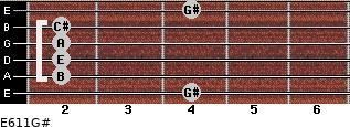 E6/11/G# for guitar on frets 4, 2, 2, 2, 2, 4