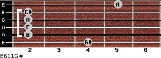 E6/11/G# for guitar on frets 4, 2, 2, 2, 2, 5