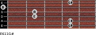 E6/11/G# for guitar on frets 4, 4, 2, 2, 0, 4