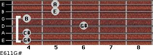 E6/11/G# for guitar on frets 4, 4, 6, 4, 5, 5