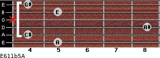 E6/11b5/A for guitar on frets 5, 4, 8, x, 5, 4