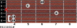E6/11b5/G# for guitar on frets 4, 4, 7, x, 5, 6
