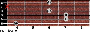 E6/11b5/G# for guitar on frets 4, 7, 7, 6, x, 6