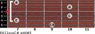E6/11sus/C# add(#5) for guitar on frets 9, 7, 10, x, 10, 7