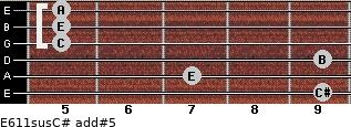 E6/11sus/C# add(#5) for guitar on frets 9, 7, 9, 5, 5, 5