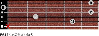 E6/11sus/C# add(#5) for guitar on frets x, 4, 2, 5, 0, 5