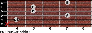 E6/11sus/C# add(#5) for guitar on frets x, 4, 7, 5, 5, 7