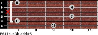 E6/11sus/Db add(#5) for guitar on frets 9, 7, 10, x, 10, 7