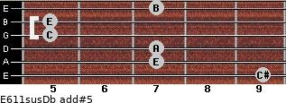 E6/11sus/Db add(#5) for guitar on frets 9, 7, 7, 5, 5, 7