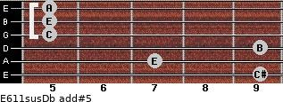 E6/11sus/Db add(#5) for guitar on frets 9, 7, 9, 5, 5, 5