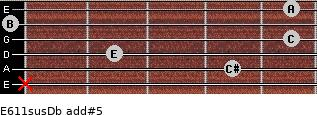 E6/11sus/Db add(#5) for guitar on frets x, 4, 2, 5, 0, 5