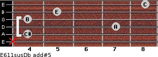 E6/11sus/Db add(#5) for guitar on frets x, 4, 7, 4, 5, 8