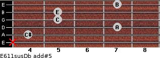 E6/11sus/Db add(#5) for guitar on frets x, 4, 7, 5, 5, 7