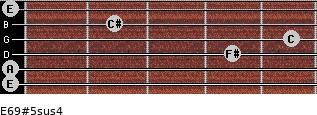 E6/9#5sus4 for guitar on frets 0, 0, 4, 5, 2, 0