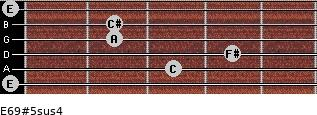 E6/9#5sus4 for guitar on frets 0, 3, 4, 2, 2, 0