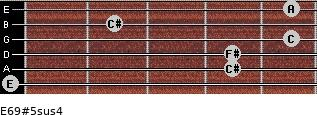E6/9#5sus4 for guitar on frets 0, 4, 4, 5, 2, 5