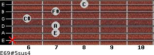 E6/9#5sus4 for guitar on frets x, 7, 7, 6, 7, 8