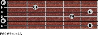 E6/9#5sus4/A for guitar on frets 5, 0, 4, 5, 2, 0