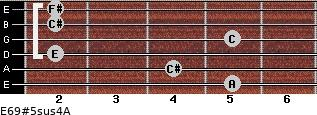 E6/9#5sus4/A for guitar on frets 5, 4, 2, 5, 2, 2