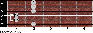 E6/9#5sus4/A for guitar on frets 5, 4, 4, 5, 5, 5