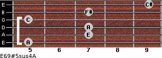 E6/9#5sus4/A for guitar on frets 5, 7, 7, 5, 7, 9