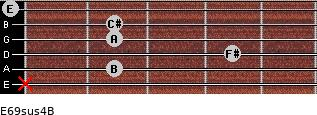 E6/9sus4/B for guitar on frets x, 2, 4, 2, 2, 0