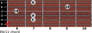 E6/11 for guitar on frets x, 7, 7, 6, 9, 7