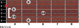 E6/11/A for guitar on frets 5, 4, 6, 4, x, 5