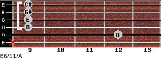 E6/11/A for guitar on frets x, 12, 9, 9, 9, 9