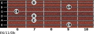 E6/11/Db for guitar on frets 9, 7, 7, 6, 9, 7