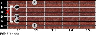 E6b5 for guitar on frets 12, 11, 11, x, 11, 12