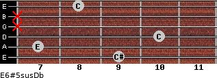 E6#5sus/Db for guitar on frets 9, 7, 10, x, x, 8