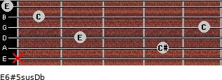 E6#5sus/Db for guitar on frets x, 4, 2, 5, 1, 0