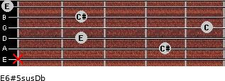 E6#5sus/Db for guitar on frets x, 4, 2, 5, 2, 0