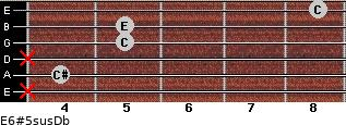 E6#5sus/Db for guitar on frets x, 4, x, 5, 5, 8