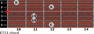E7/13 for guitar on frets 12, 11, 11, x, 12, 10