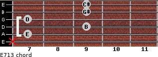 E7/13 for guitar on frets x, 7, 9, 7, 9, 9
