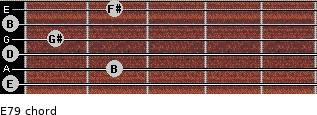 E7/9 for guitar on frets 0, 2, 0, 1, 0, 2