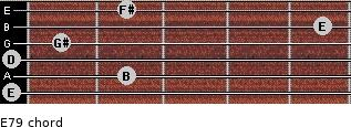 E7/9 for guitar on frets 0, 2, 0, 1, 5, 2