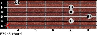 E7/9(b5) for guitar on frets x, 7, 8, 7, 7, 4