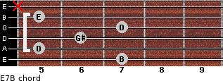 E7/B for guitar on frets 7, 5, 6, 7, 5, x