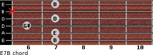 E7/B for guitar on frets 7, 7, 6, 7, x, 7