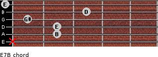E7/B for guitar on frets x, 2, 2, 1, 3, 0