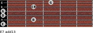 E-7(add13) for guitar on frets 0, 2, 0, 0, 2, 3