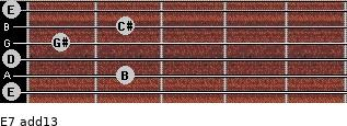 E7(add13) for guitar on frets 0, 2, 0, 1, 2, 0
