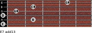 E7(add13) for guitar on frets 0, 2, 0, 1, 2, 4