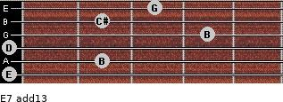 E-7(add13) for guitar on frets 0, 2, 0, 4, 2, 3