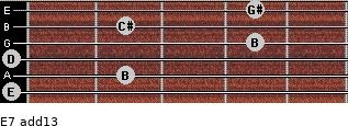 E7(add13) for guitar on frets 0, 2, 0, 4, 2, 4