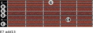 E-7(add13) for guitar on frets 0, 4, 0, 0, 0, 3